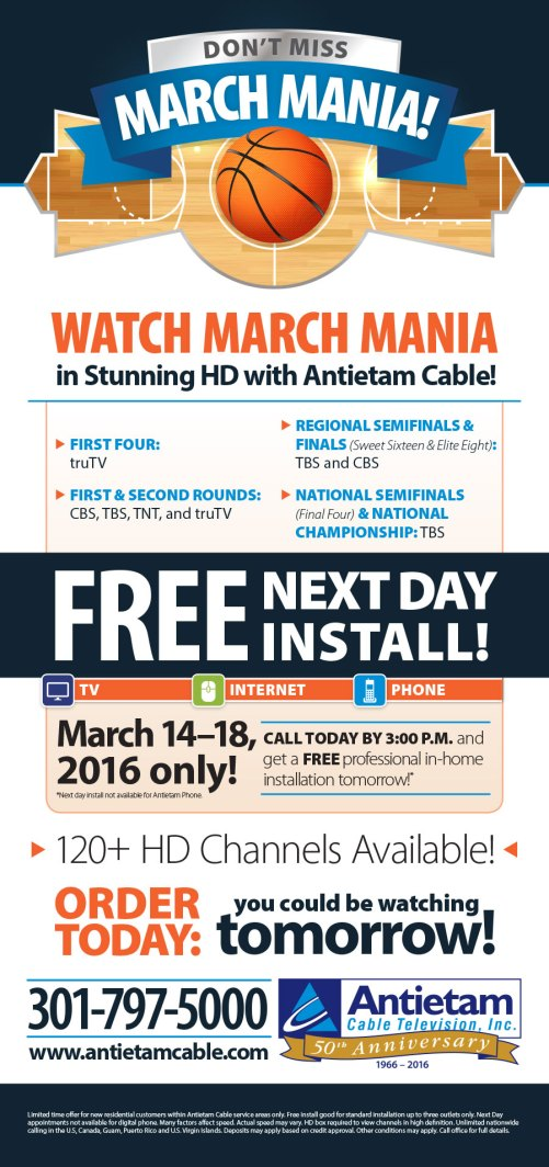 Full page newspaper ad designed for Antietam Cable during March Madness. Designed as part of the team at Icon Graphics.